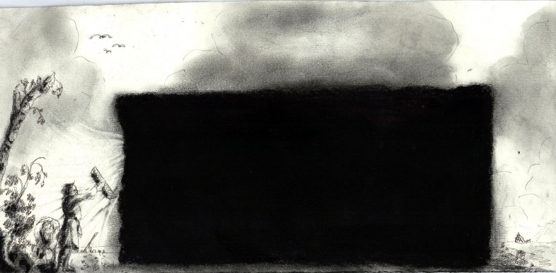 The discovery 30x14cm charcoal ink on paper 2015 Alle Jong1 785x386 Voyage trough time and space