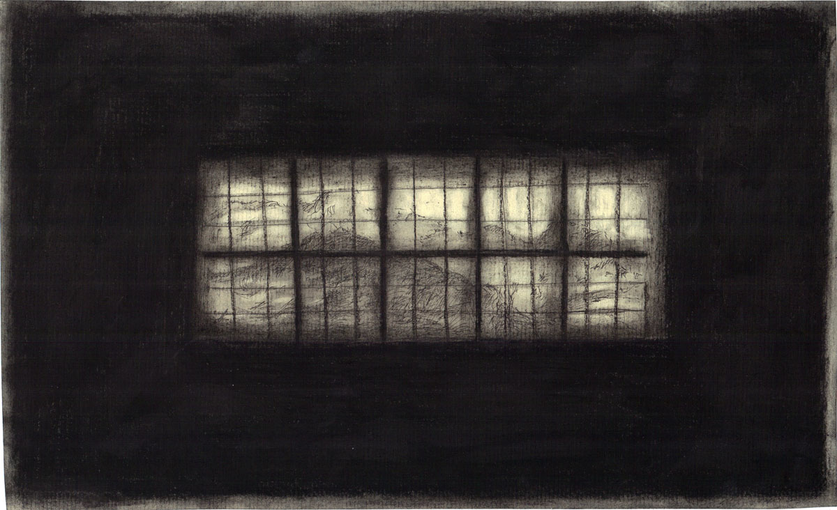 Window 28.5x17.5cm ink charcoal on paper 2013 Psychology of a window, the Berghoff Villa