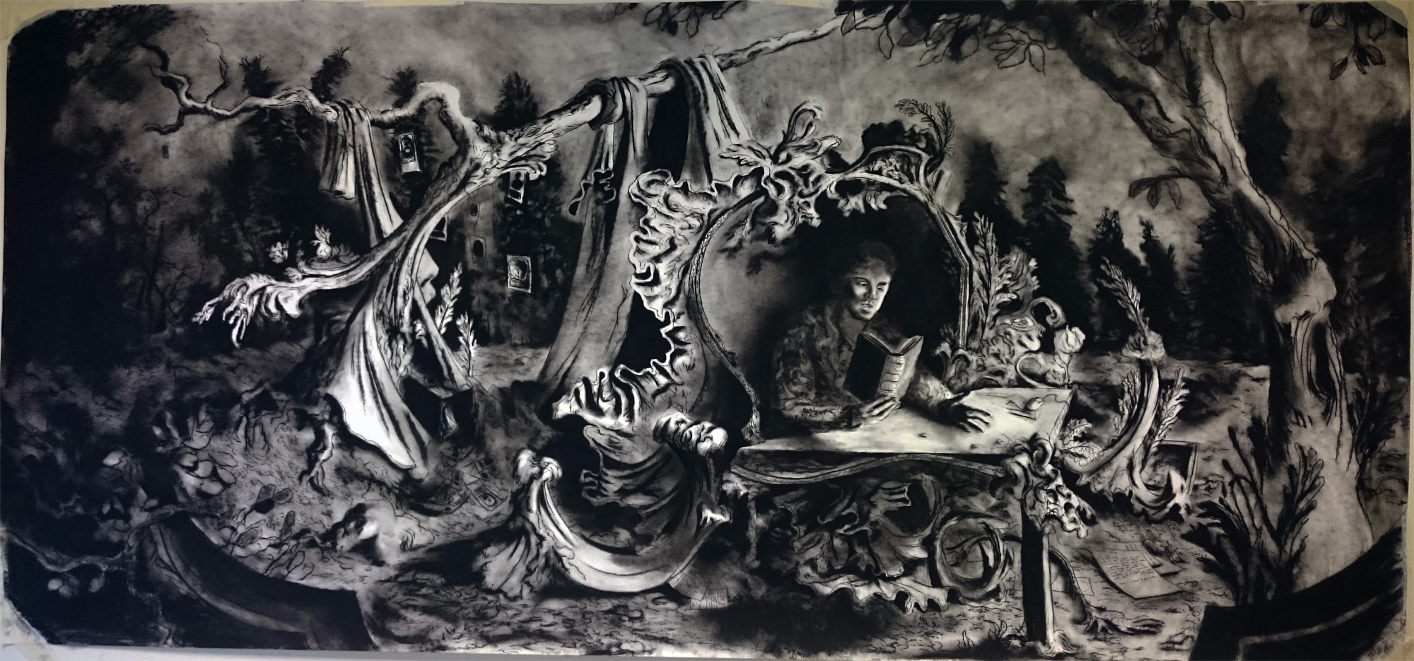 Houbraken island 290x137cm charcoal on paper feb 2016 .